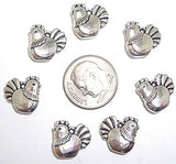 20 Chicken Charms Silver Tone