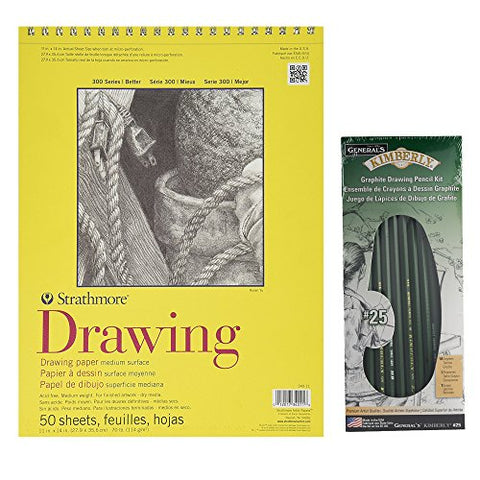 Strathmore 300 11 X 14 Drawing Pad | General Pencil Kimberly Graphite Pencil Set Bundle