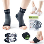 Plantar Fasciitis Pain Relief Recovery Kit  9 Pack- Foot Compression Sleeves, Heel Protectors, Cushioned Arch Support Wraps & Inserts, Foot Massage Ball- Instruction Guide Included (L/Xl)