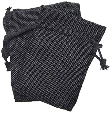 Homeford Faux Burlap Pouches With Cotton Drawstrings, 3 By 4-Inch, Black,