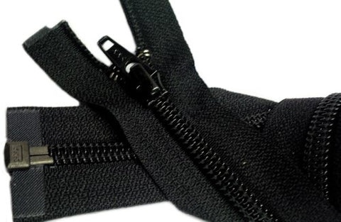 Zipperstop Wholesale Ykk 100  Sleeping Bag Separating Zipper (Special) Ykk #5 Nylon Coil Zipper ~ Black (1 Zipper / Pack)