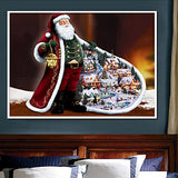 Infinal Christmas 5D Diy Diamond Painting,Xmas Decor Santa Claus Cross Stitch Painting By Number Kit Crystals Embroidery Kit Home Decor Art Craft Creative Gift For Family(12 X16 )