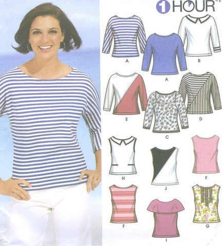 Simplicity 7222 Sewing Pattern ~ Misses' 1 Hour Knit Tops, Sizes R5: Misses 14-22