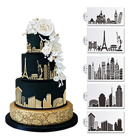 5 Pc Historic Monuments And Major City Skylines (Eiffel Tower, Statue Of Liberty, Rome, Empire State Building, New York City) Wedding Cake Stencil Set - Custom Stencils From Bakell