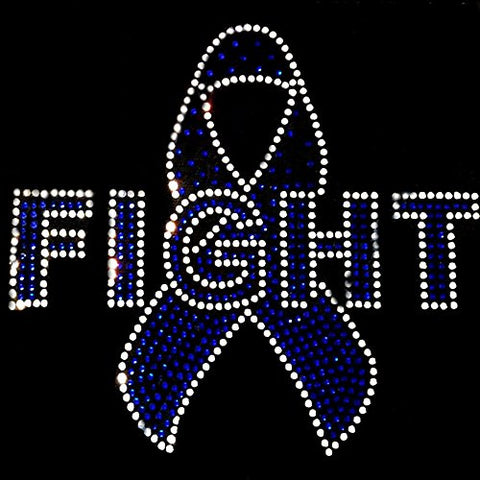 Rhinestone Transfer   Cancer Awareness Fight Ribbon   (Colon Cancer Blue)
