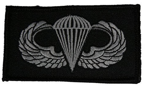 Military Jump Wing Insignia 2 Piece Patch - Subdued Hook And Loop - Veteran Owned Business.