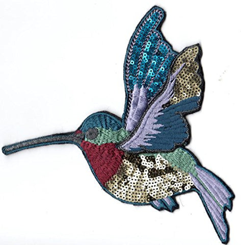 Sequin And Embroidery Patch: Winged Hummingbird