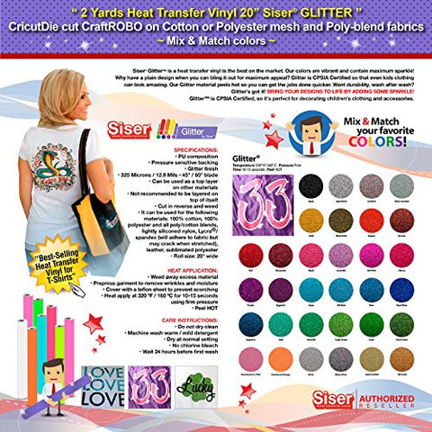 Gercutter Store - 2 Yards Siser Glitter Heat Transfer Vinyl 20 Inch Wide (Mix & Match Colors)