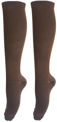 Asrocky Graduated Compression Socks Anti-Fatigue Antimicrobial Calf High Below Knee Mens Womens Sock Leg Foot Ankle Heel Support Pain Relief Stockings Reduce Swelling (1 Pair, Sm/Med, Brown)