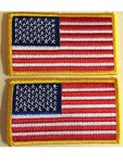 American Flag Iron On Bundle Lot Of 2 Pieces Embroidered Patch Gold Border Usa United States Of America Military Uniform Appliqu Emblem