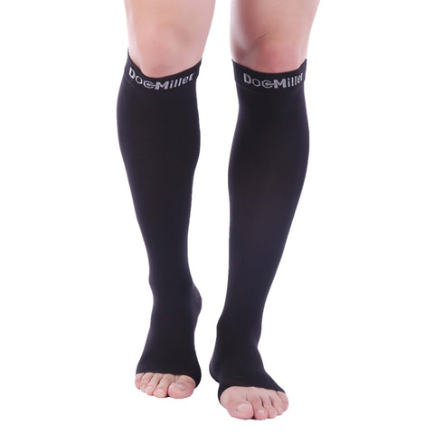 Doc Miller Premium Calf Compression Sleeve 1 Pair 20-30Mmhg Strong Calf Support Graduated Pressure For Sports Running Muscle Recovery Shin Splints Varicose Veins (Black, Open Toe, Large)