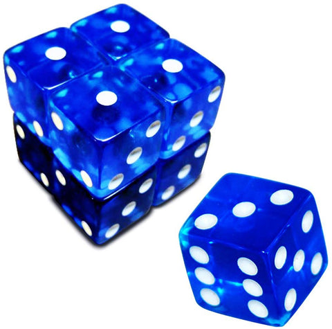 19Mm D6 Six-Sided Gaming Transparent Casino Dice (Blue Square, 5Pcs)