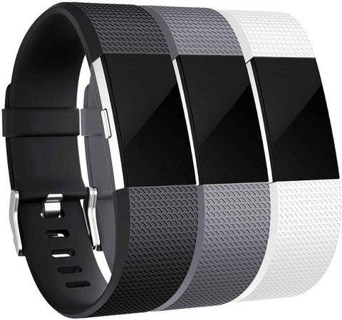 Maledan Bands Replacement Compatible With Fitbit Charge 2, 3 Pack, Black/White/Gray, Large