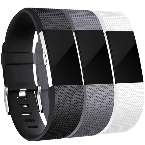 Maledan Bands Replacement Compatible With Fitbit Charge 2, 3 Pack, Black/White/Gray, Small