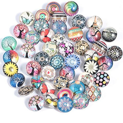 30Pcs Mixed Style Glass Noosa Snaps Buttons 18Mm For Interchangeable Ginger Snaps Jewelry