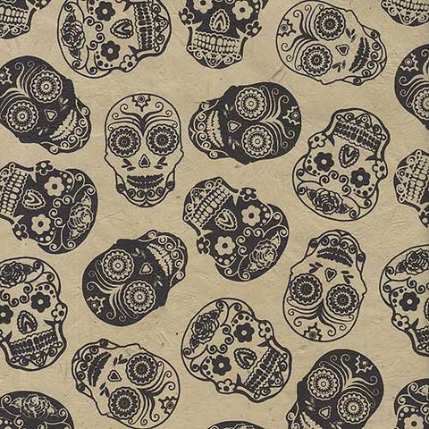Sugar Skull Printed Paper From Nepal- Black Skulls On Tan Paper 22X30 Inch Sheet