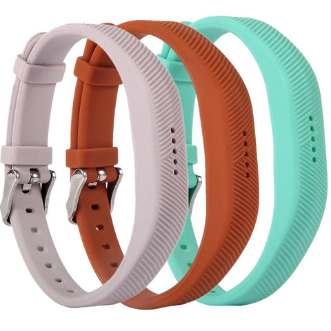 Huishang Flex 2 Accessory Bands For Fitbit Flex 2, With Chrome Claspor Soft Silicone Bracelet Strap,Wrist Band Adjustable Repalcement (Tealbrownlavender)