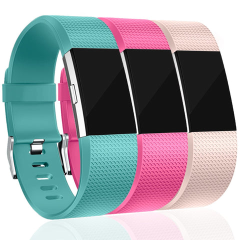Maledan Replacement Bands For Fitbit Charge 2, Accessory Sport Wristbands Band Compatible For Fitbit Charge 2 Hr Women Men, 3 Pack, Blush Pink/Teal/Rose Pink, Large