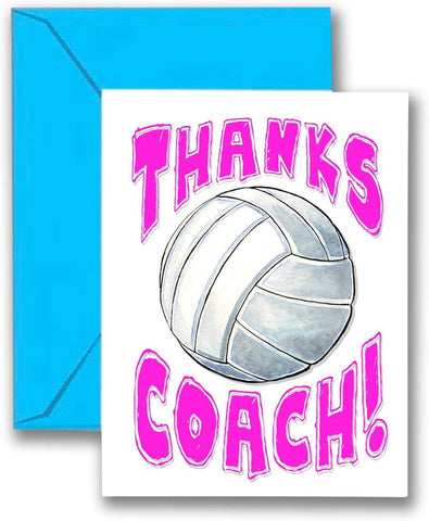 Play Strong Volleyball Thanks Awesome Volleyball Coach! (Pink) Sports Powercard Greeting Cards (5X7) Perfect For Youth Sports - Coach Will Love It! #Allprofitstohelpkids