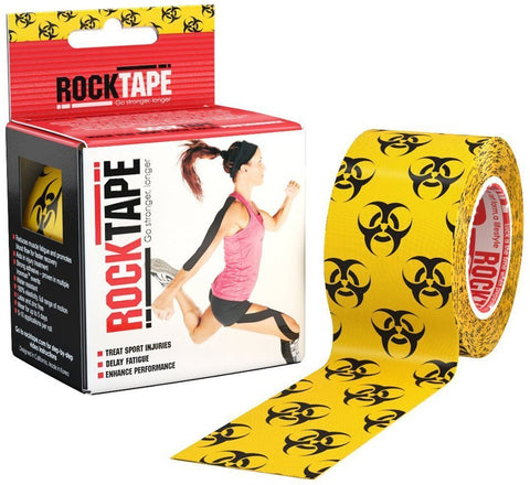 "Rocktape Kinesiology Tape For Athletes, Water Resistant, Reduce Pain & Injury Recovery, 2"" X 16.4 Feet, Uncut, High Voltage, Discontinued"