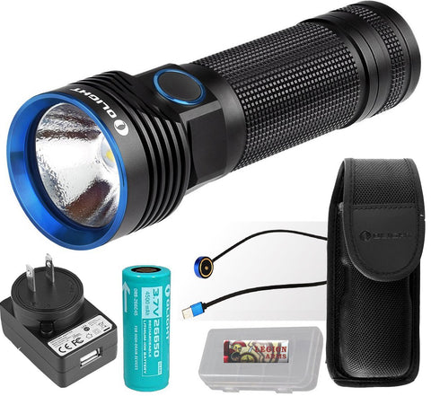 Olight R50 Pro Seeker 3200 Lumens Cree Xhp70 Led Rechargeable Flashlight Searchlight With 26650 Battery, Holster, Charger Adapter, Magnetic Usb Charging Cable And Legionarms Case (R50 Pro Seeker)