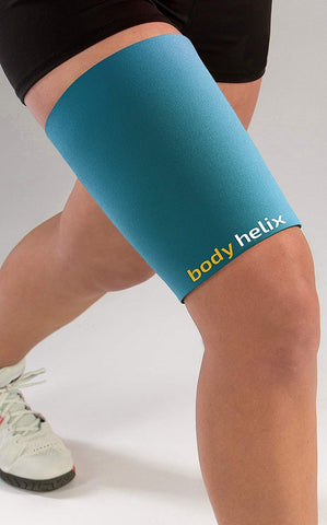 Body Helix Thigh Compression Sleeve - Full Thigh Helix Support Sleeves Wraps (Teal, Small)
