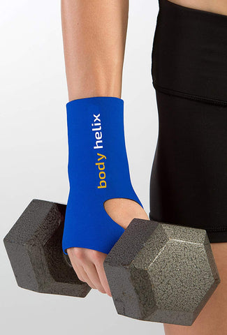 Body Helix Wrist Wraps - Full Wrist Compression Sleeve  For The Management Of Wrist Sprains And Strains And For Injury Prevention In Sports Associated With Repetitive Activities; Royal Blue, Medium