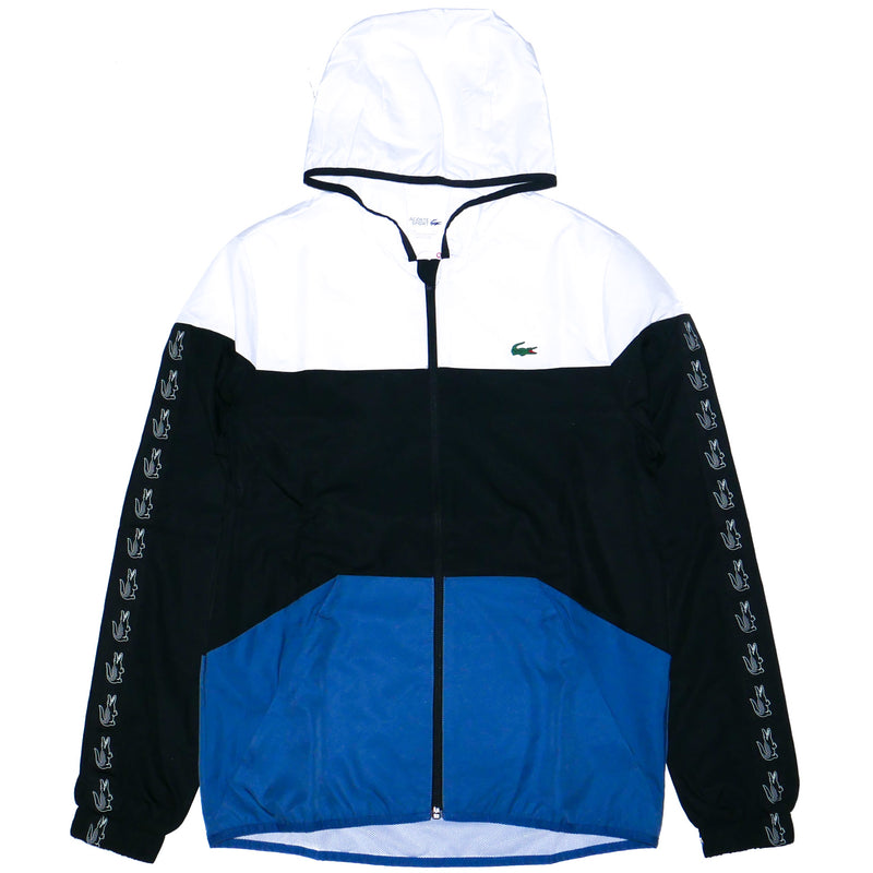 Lacoste Sport Men's Hooded Tennis Jacket Black/White/Blue
