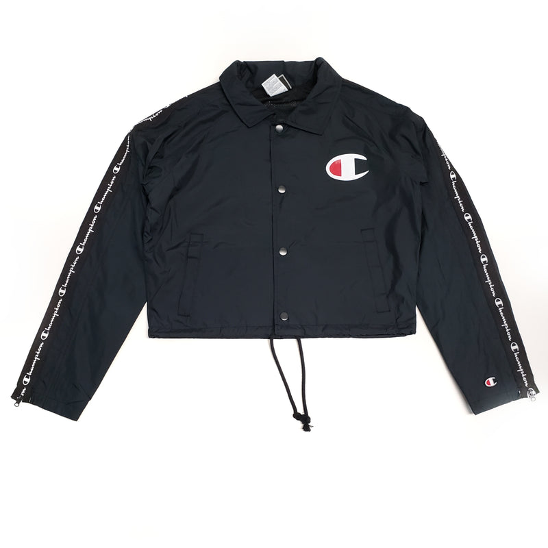 Champion Black Zipper Tape Cropped Coaches Jacket