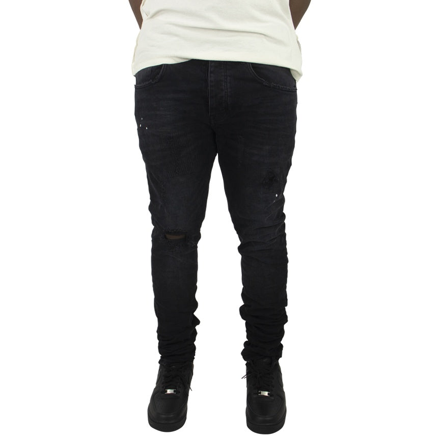 Purple Brand Mid Rise Tapered Leg Black Repair Denim Jeans