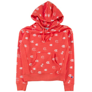 Champion Women's Reverse Weave Pink 'C's All Over' Pullover Hoodie