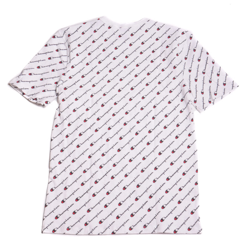 22396174 Champion Heritage All-Over Script White T-Shirt – Puffer Reds