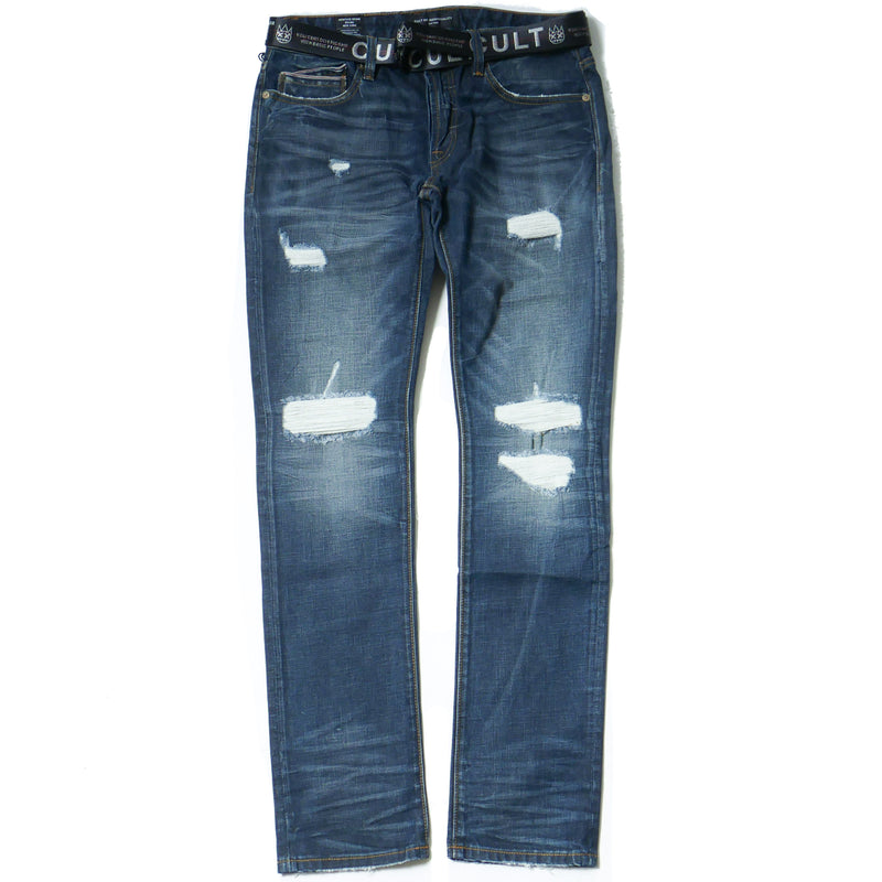 Cult of Individuality Greaser Slim Straight Jeans w/ Belt