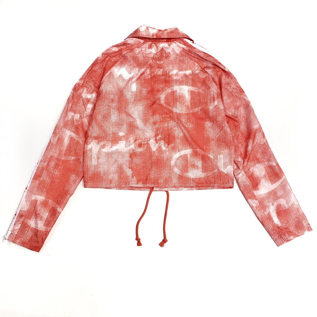 Champion Pink Zipper Tape Cropped Coaches Jacket