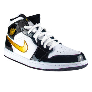 new style 92088 2410d Air Jordan 1 Mid Patent Leather Black   Gold