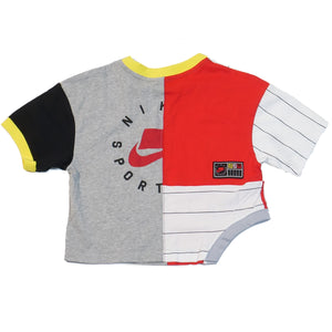 Nike Women's NSW Patchwork Crop T-Shirt Grey/Red