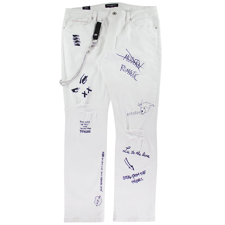 Cult of Individuality Rocker Slim White Stretch Denim Jean