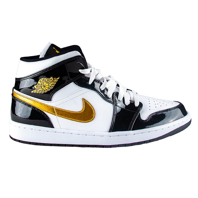 Air Jordan 1 Mid Patent Leather Black & Gold