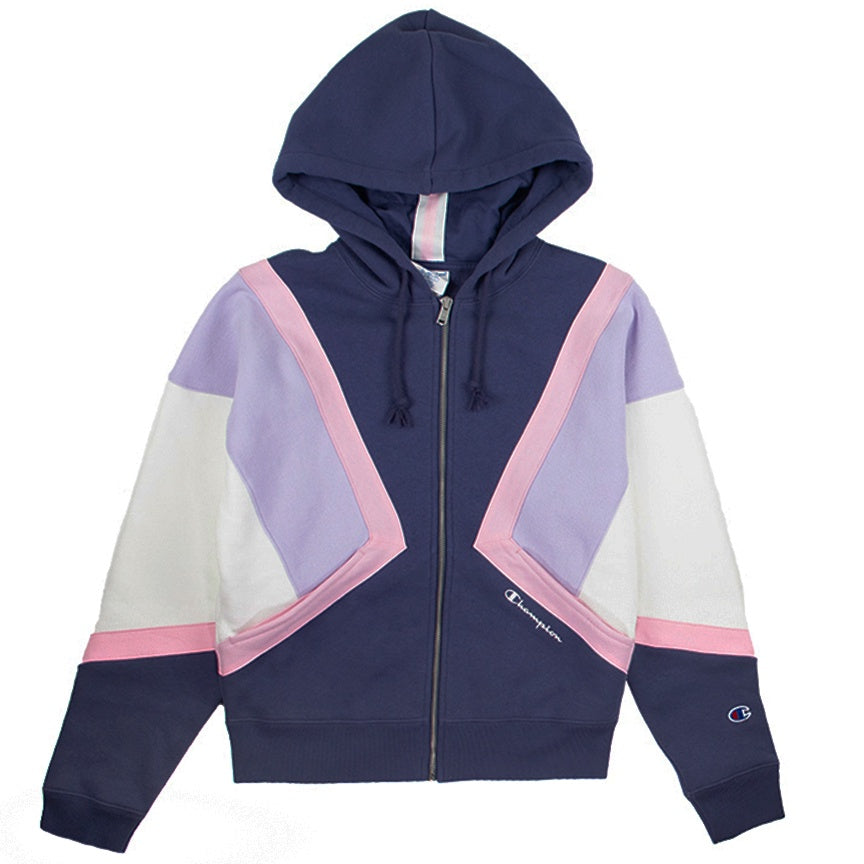 Champion Women's Reverse Weave Navy Colorblock Zip Hoodie