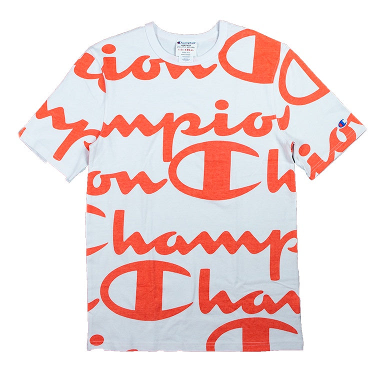Champion Heritage Giant Script White/Pink T-Shirt