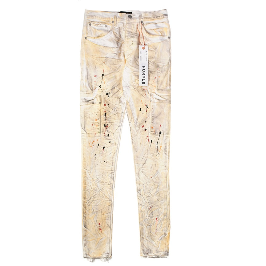 Purple Brand White Dirty Cargo Jeans