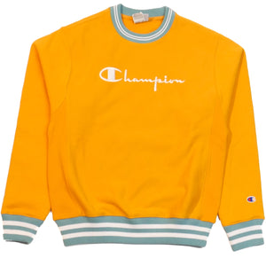 Champion Reverse Weave Orange Rib Trim Crew Sweatshirt