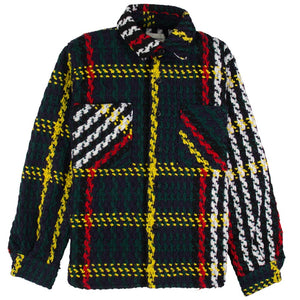 Lifted Anchors Interlaced Woven Plaid Overcoat