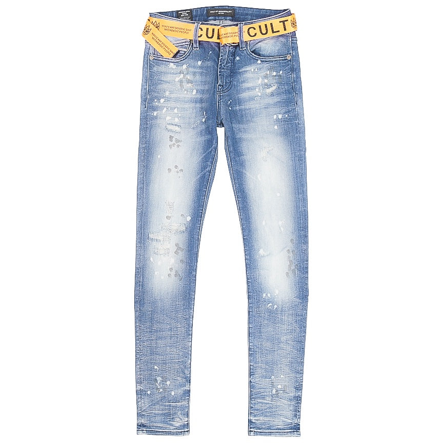 Cult Of Individuality Belted Punk Super Skinny Jeans