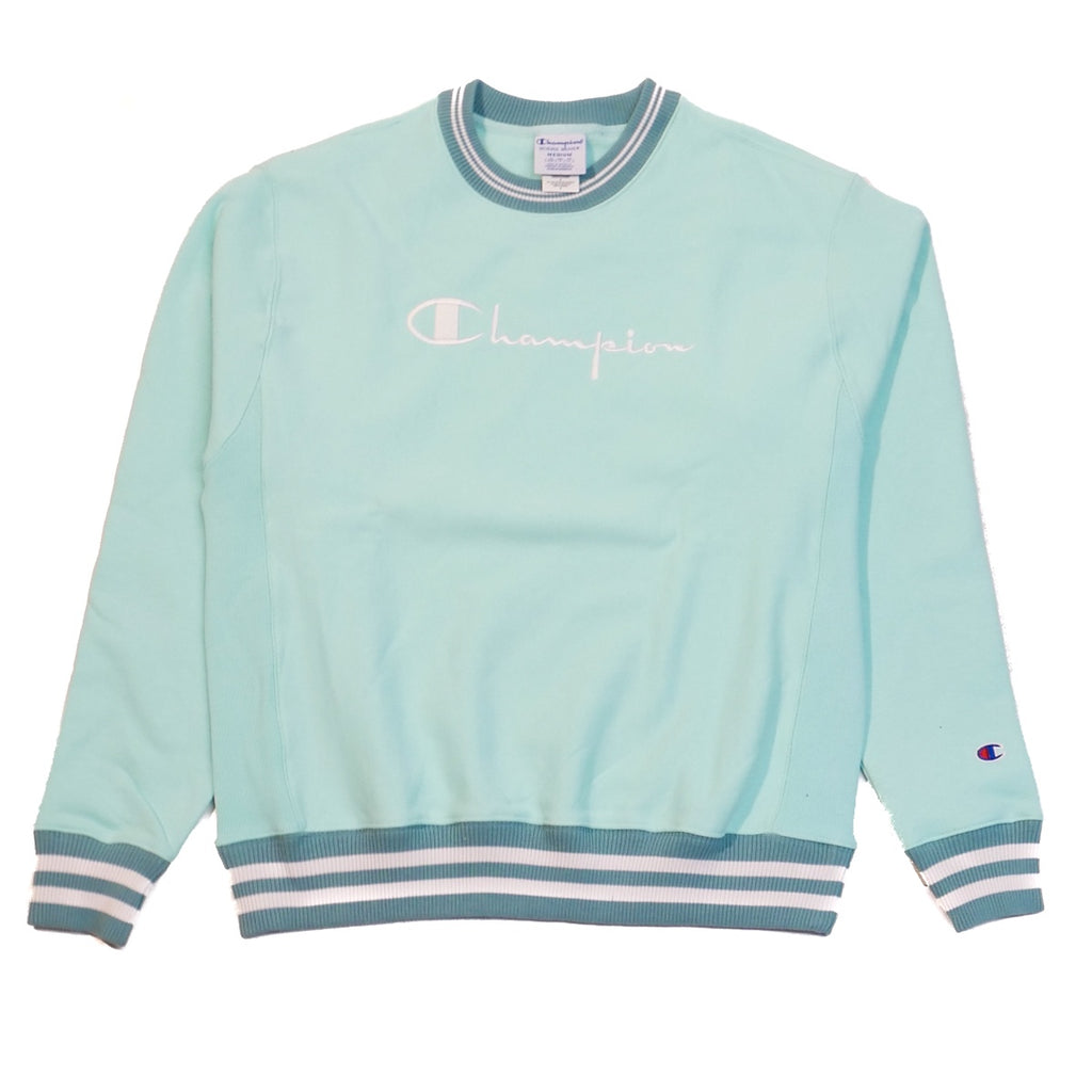 Champion Reverse Weave Mint Green Rib Trim Crew Sweatshirt