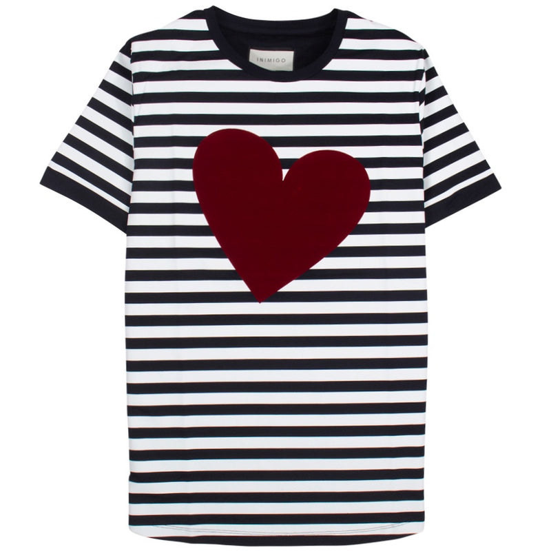 Inimigo Strips Heart Navy T-Shirt