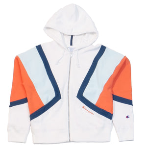 Champion Women's Reverse Weave White Colorblock Zip Hoodie