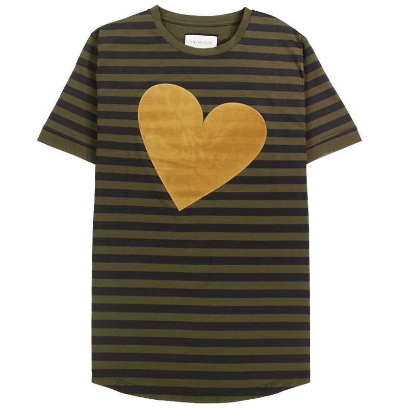 Inimigo Stripes Heart Green T-Shirt