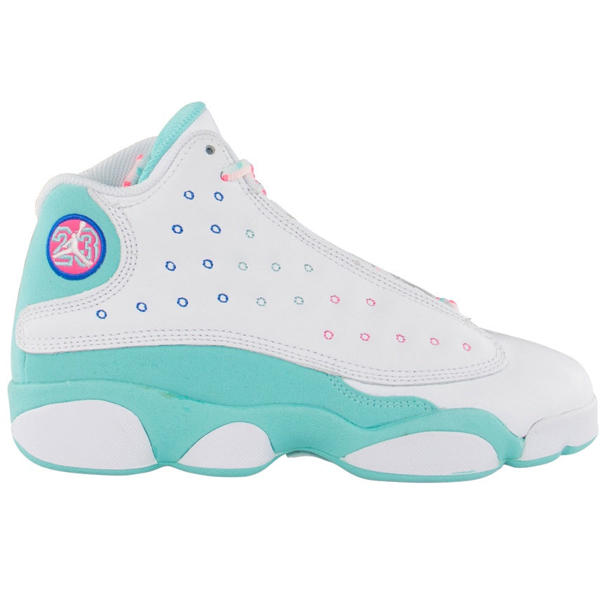 Air Jordan Kids Retro 13 Gs Aurora Green Puffer Reds
