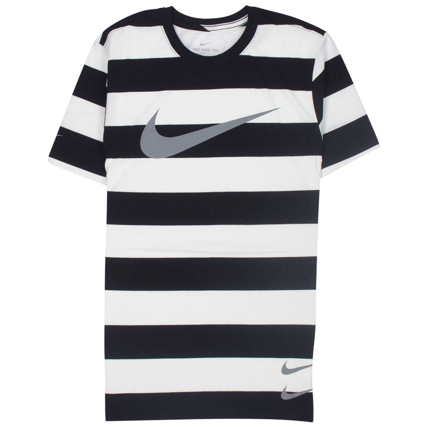 Nike Swoosh Striped T-Shirt 'Black/White'